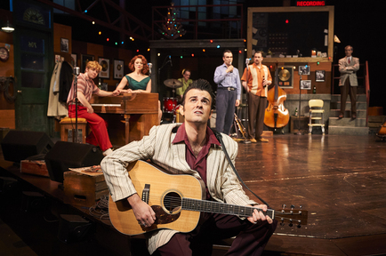 Elvis (Sean Michael Buckley) contemplates his future as the group (Gabe Aronson, Kristen Beth Williams, Dave Sonneborn, James Barry, Eric Scott Anthony and James Ludwig) look on
